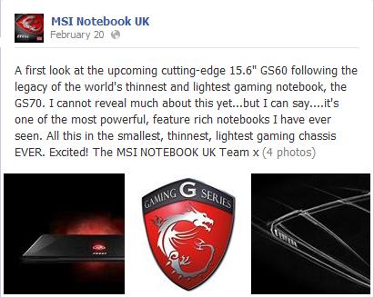 MSI GS60, post facebook